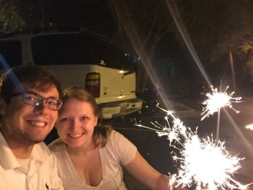 July 4th came and we had some extra sparklers from the wedding