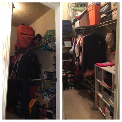 Went through our entire closet and realized we actually have a lot more space! Imagine what some shelves will do